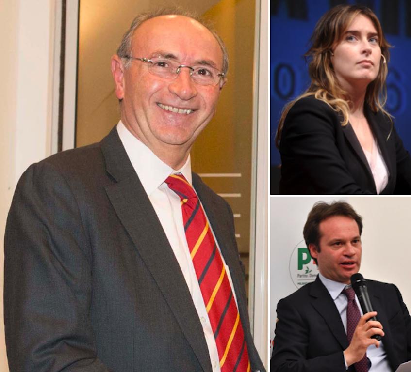 In senso orario Federico Ghizzoni Maria Elena Boschi e Marco Carrai